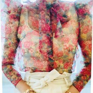 Zara Tops - NEW Zara Puff Sleeve Floral Organza Bow Tie Blouse